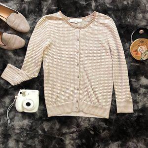 LOFT Holiday Signature Stripe Knit Cardigan
